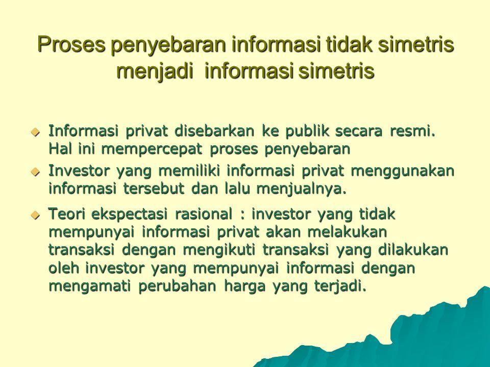 Proses penyebaran informasi tidak simetris menjadi informasi simetris  Informasi privat disebarkan ke publik secara resmi. Hal ini mempercepat proses