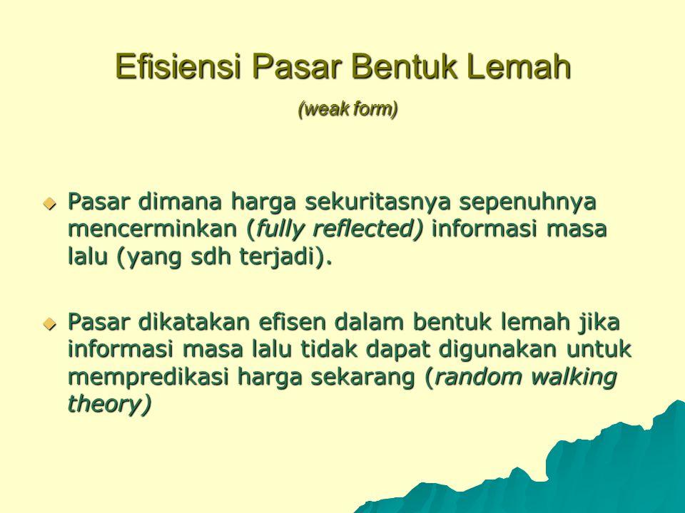 Efisiensi Pasar Bentuk Lemah (weak form)  Pasar dimana harga sekuritasnya sepenuhnya mencerminkan (fully reflected) informasi masa lalu (yang sdh ter