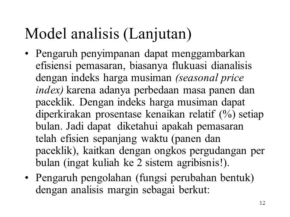 12 Model analisis (Lanjutan) Pengaruh penyimpanan dapat menggambarkan efisiensi pemasaran, biasanya flukuasi dianalisis dengan indeks harga musiman (s