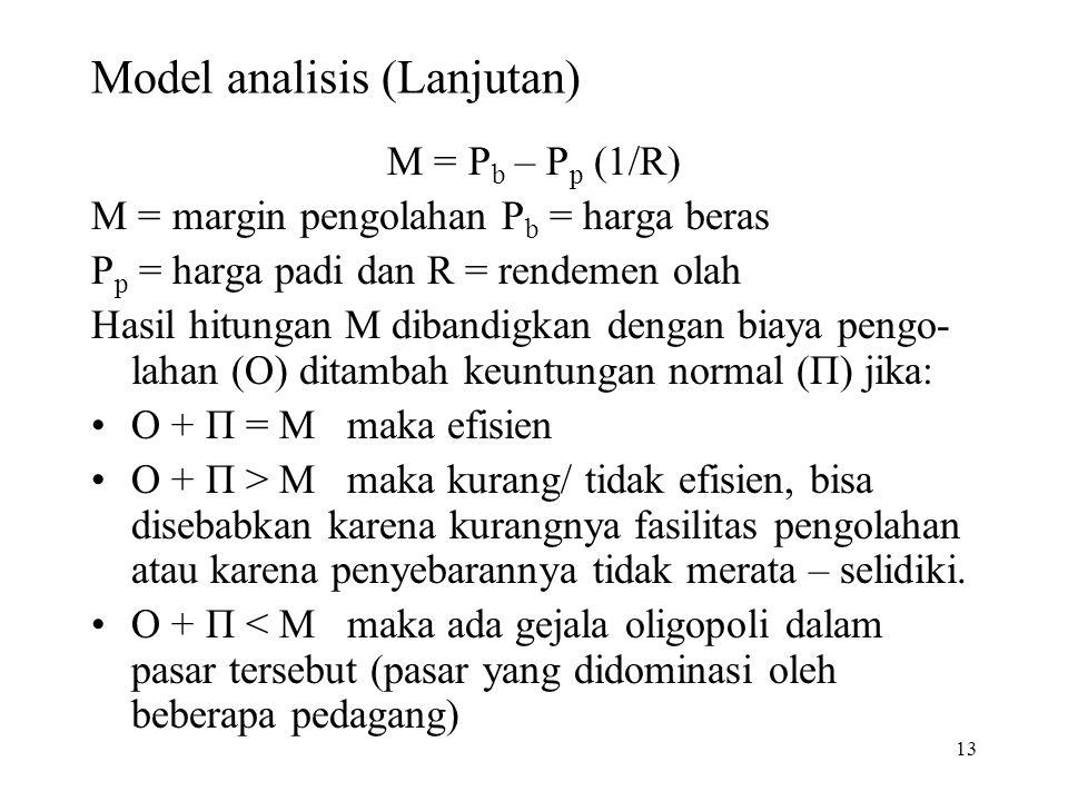 13 Model analisis (Lanjutan) M = P b – P p (1/R) M = margin pengolahan P b = harga beras P p = harga padi dan R = rendemen olah Hasil hitungan M diban