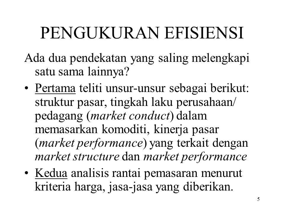 5 PENGUKURAN EFISIENSI Ada dua pendekatan yang saling melengkapi satu sama lainnya? Pertama teliti unsur-unsur sebagai berikut: struktur pasar, tingka