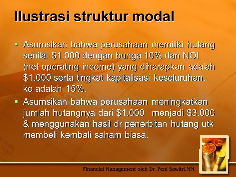 Ilustrasi struktur modal  Asumsikan bahwa perusahaan memiliki hutang senilai $1.000 dengan bunga 10% dan NOI (net operating income) yang diharapkan a