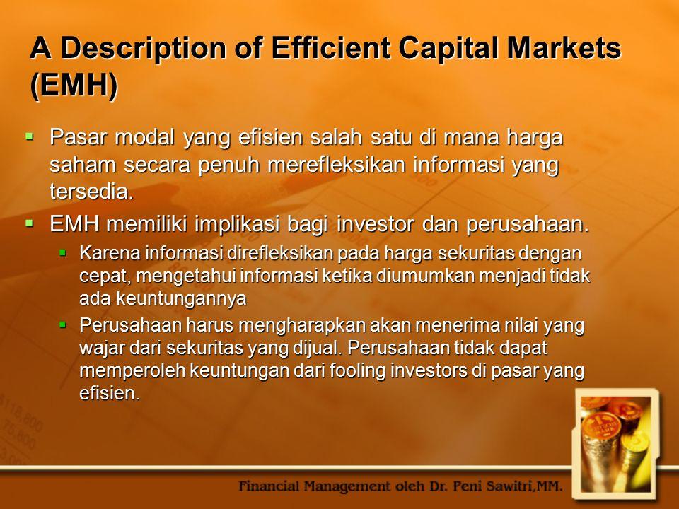 A Description of Efficient Capital Markets (EMH)  Pasar modal yang efisien salah satu di mana harga saham secara penuh merefleksikan informasi yang t