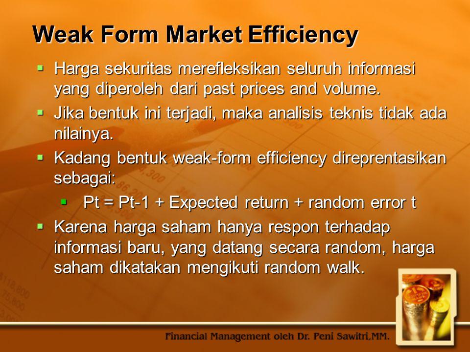 Weak Form Market Efficiency  Harga sekuritas merefleksikan seluruh informasi yang diperoleh dari past prices and volume.  Jika bentuk ini terjadi, m