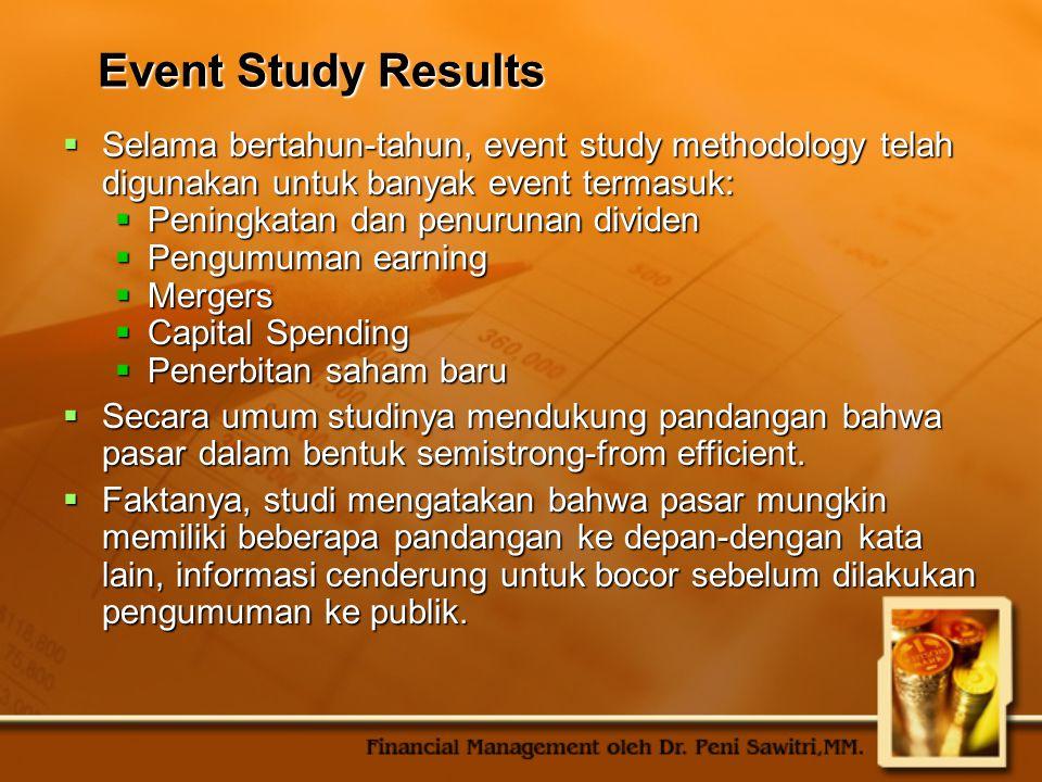 Event Study Results  Selama bertahun-tahun, event study methodology telah digunakan untuk banyak event termasuk:  Peningkatan dan penurunan dividen