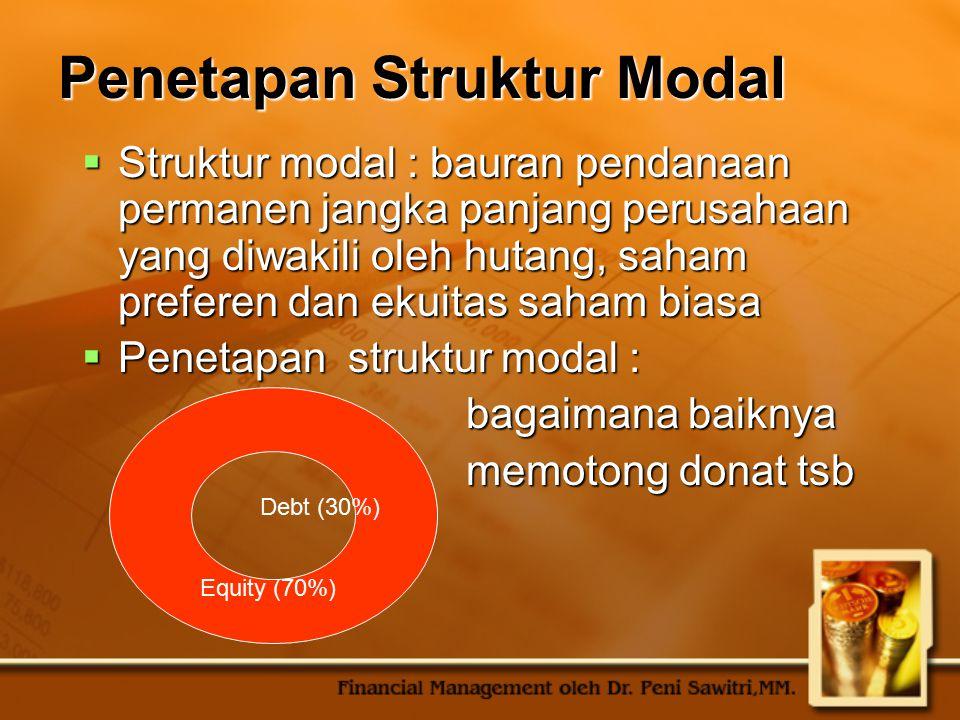 Penetapan Struktur Modal  Struktur modal : bauran pendanaan permanen jangka panjang perusahaan yang diwakili oleh hutang, saham preferen dan ekuitas