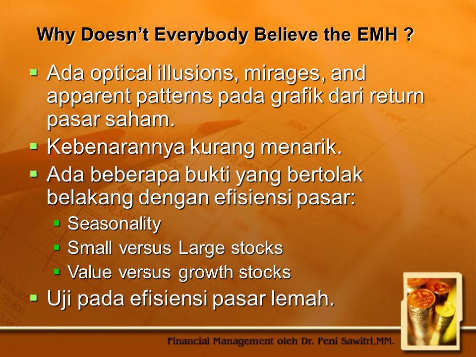 Why Doesn't Everybody Believe the EMH ?  Ada optical illusions, mirages, and apparent patterns pada grafik dari return pasar saham.  Kebenarannya ku