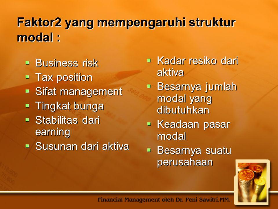 Faktor2 yang mempengaruhi struktur modal :  Business risk  Tax position  Sifat management  Tingkat bunga  Stabilitas dari earning  Susunan dari
