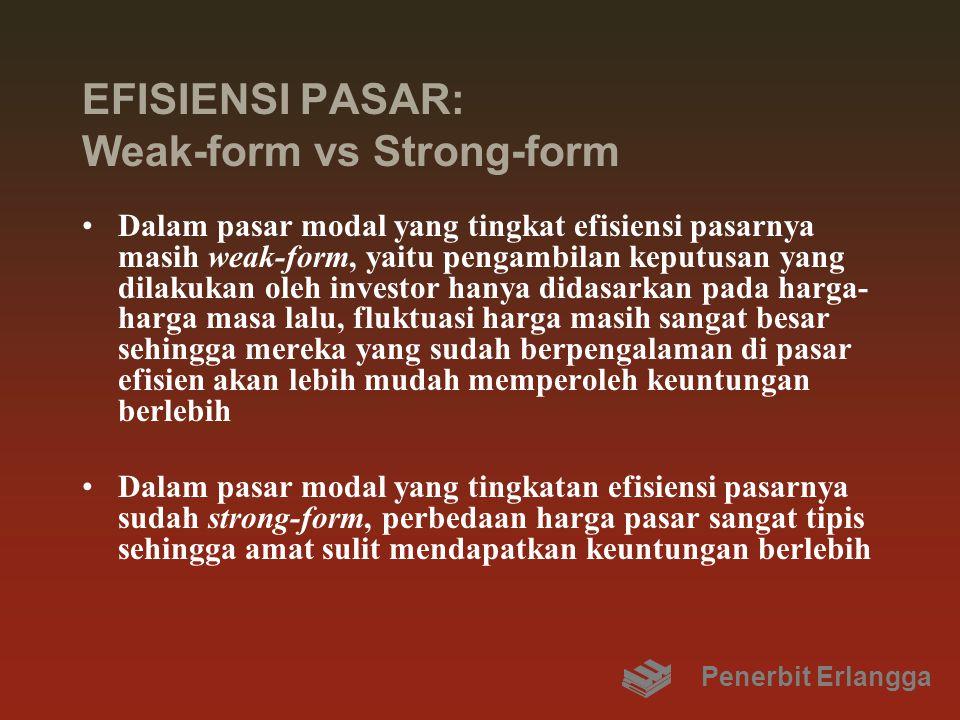 EFISIENSI PASAR: Weak-form vs Strong-form Dalam pasar modal yang tingkat efisiensi pasarnya masih weak-form, yaitu pengambilan keputusan yang dilakuka