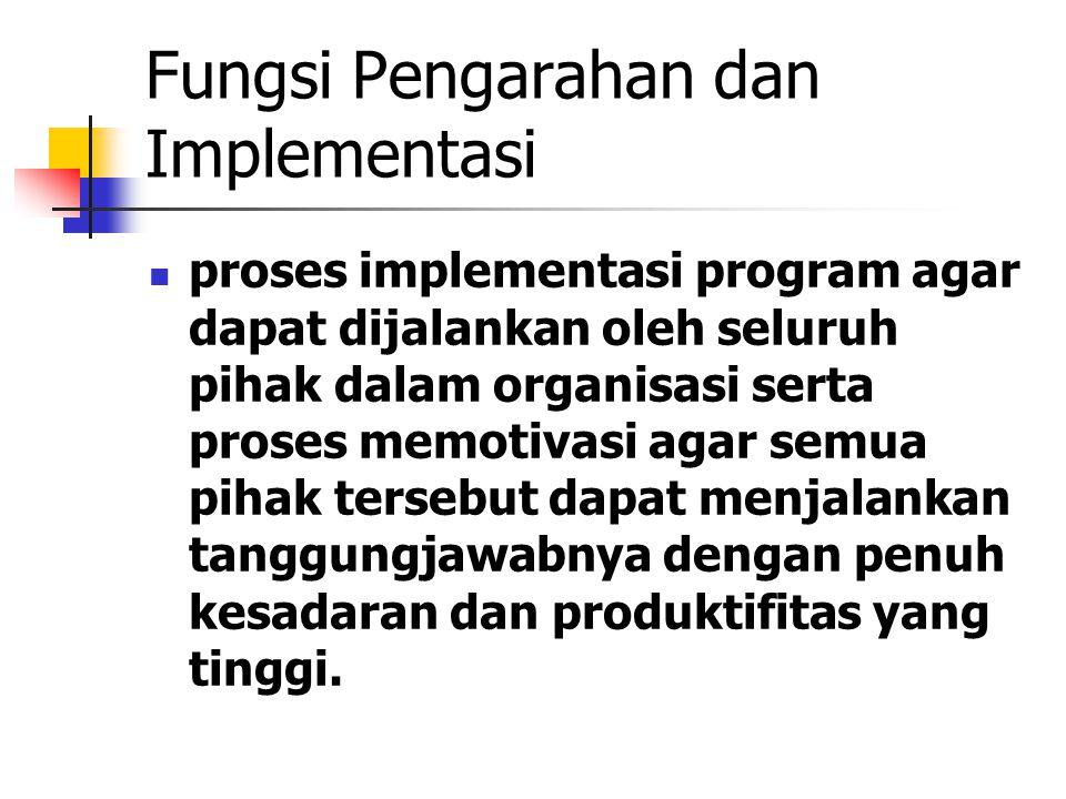 Fungsi Pengarahan dan Implementasi proses implementasi program agar dapat dijalankan oleh seluruh pihak dalam organisasi serta proses memotivasi agar