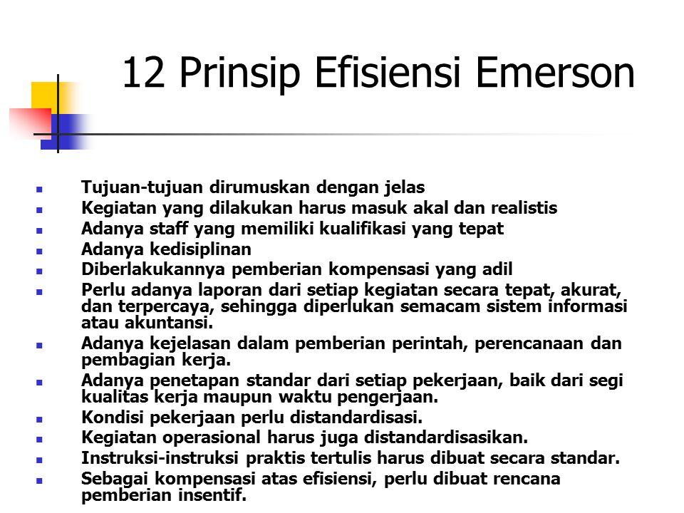 12 Prinsip Efisiensi Emerson Tujuan-tujuan dirumuskan dengan jelas Kegiatan yang dilakukan harus masuk akal dan realistis Adanya staff yang memiliki k