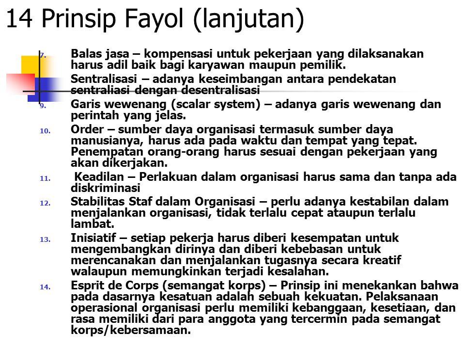 14 Prinsip Fayol (lanjutan) 7. Balas jasa – kompensasi untuk pekerjaan yang dilaksanakan harus adil baik bagi karyawan maupun pemilik. 8. Sentralisasi