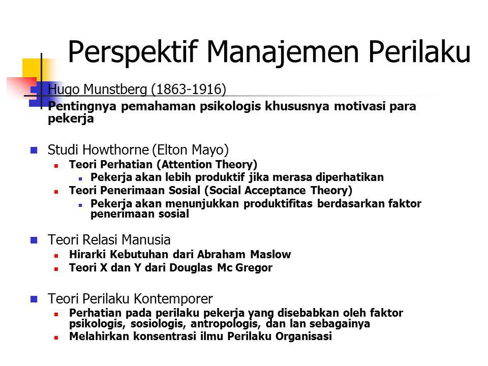 Perspektif Manajemen Perilaku Hugo Munstberg (1863-1916) Pentingnya pemahaman psikologis khususnya motivasi para pekerja Studi Howthorne (Elton Mayo)