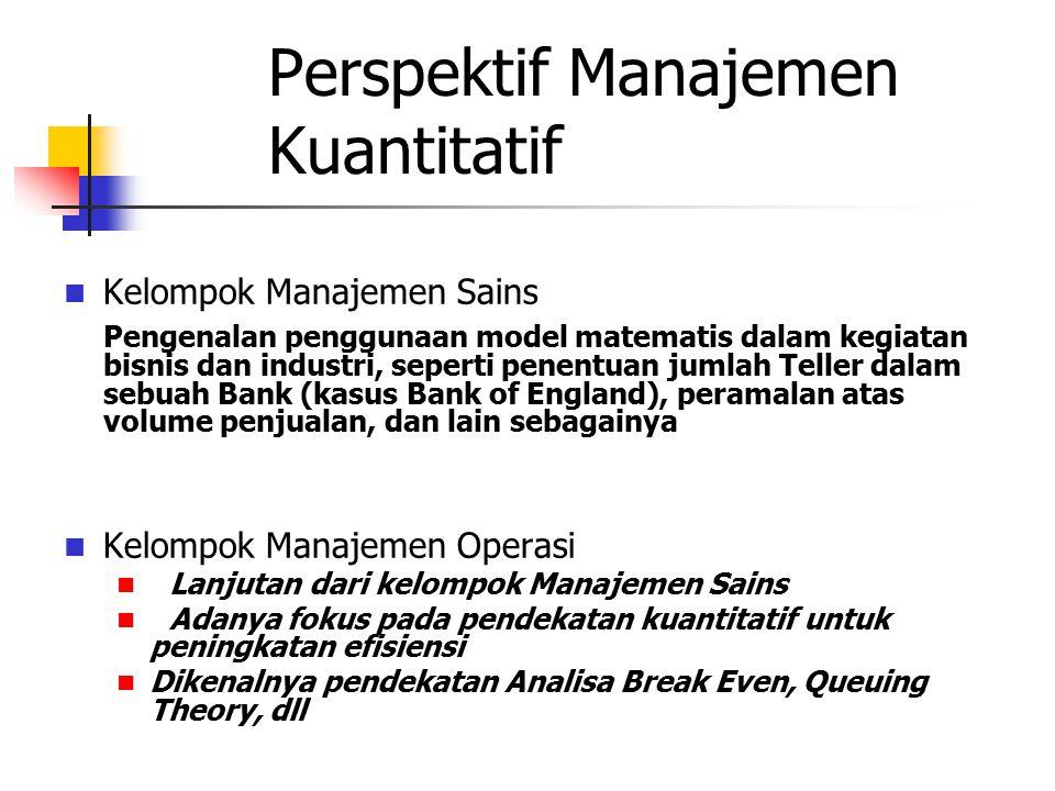 Perspektif Manajemen Kuantitatif Kelompok Manajemen Sains Pengenalan penggunaan model matematis dalam kegiatan bisnis dan industri, seperti penentuan