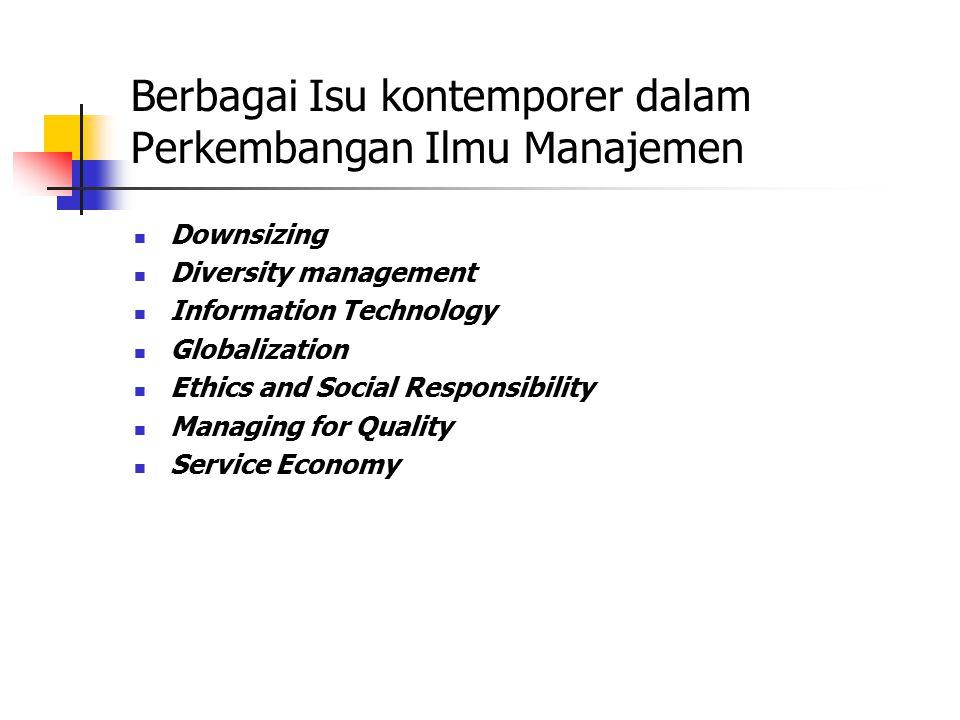 Berbagai Isu kontemporer dalam Perkembangan Ilmu Manajemen Downsizing Diversity management Information Technology Globalization Ethics and Social Resp