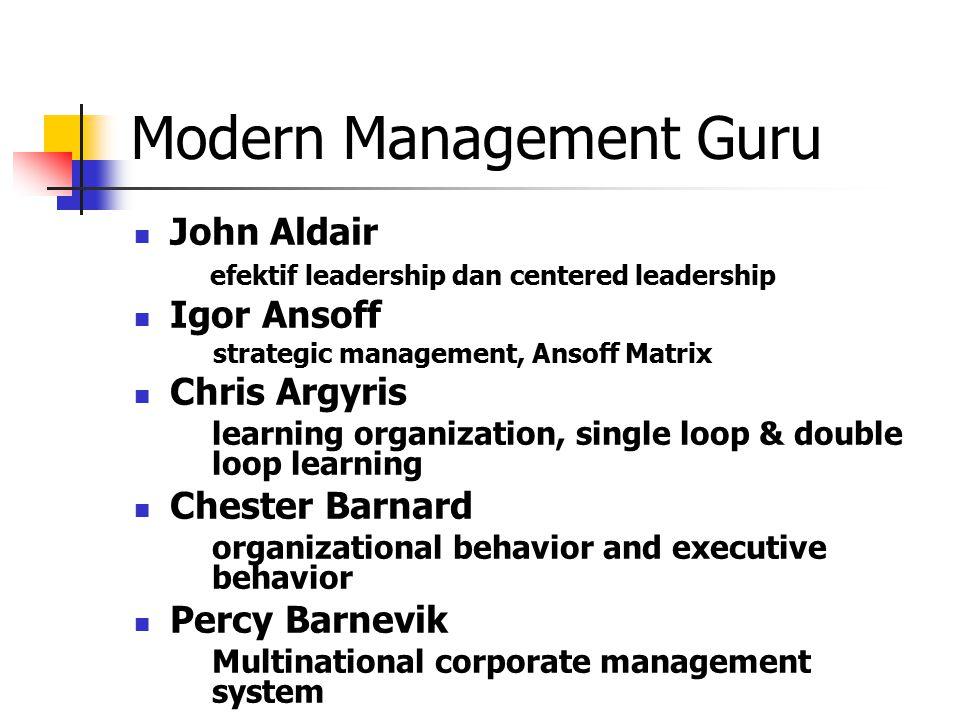 Modern Management Guru John Aldair efektif leadership dan centered leadership Igor Ansoff strategic management, Ansoff Matrix Chris Argyris learning o