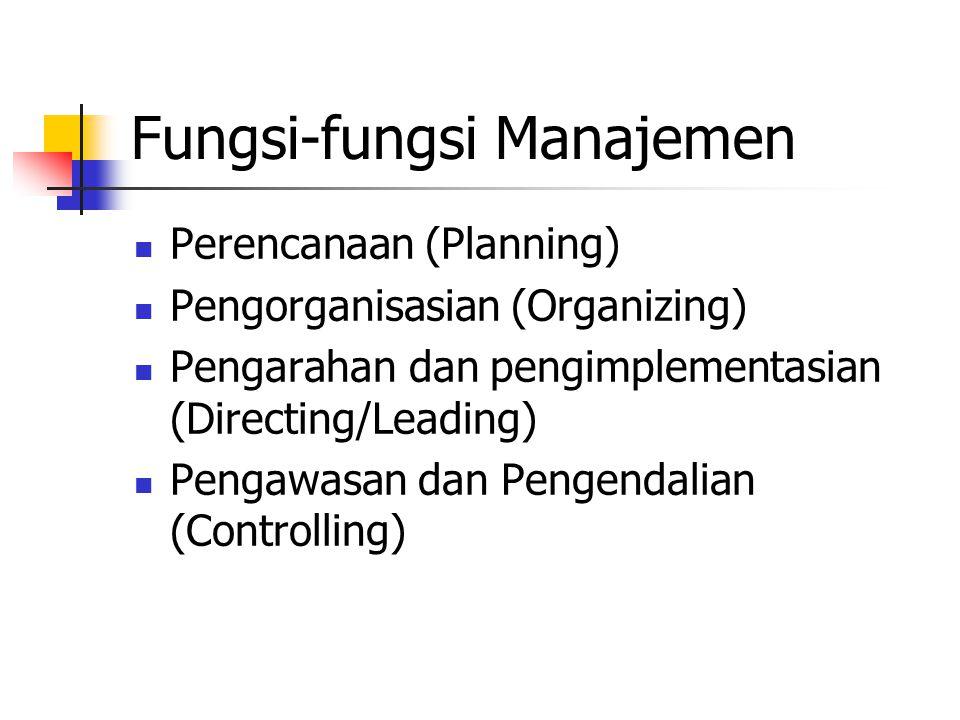 Fungsi-fungsi Manajemen Perencanaan (Planning) Pengorganisasian (Organizing) Pengarahan dan pengimplementasian (Directing/Leading) Pengawasan dan Peng
