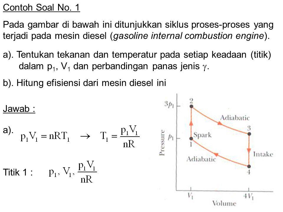Contoh Soal No. 1 Pada gambar di bawah ini ditunjukkan siklus proses-proses yang terjadi pada mesin diesel (gasoline internal combustion engine). Jawa