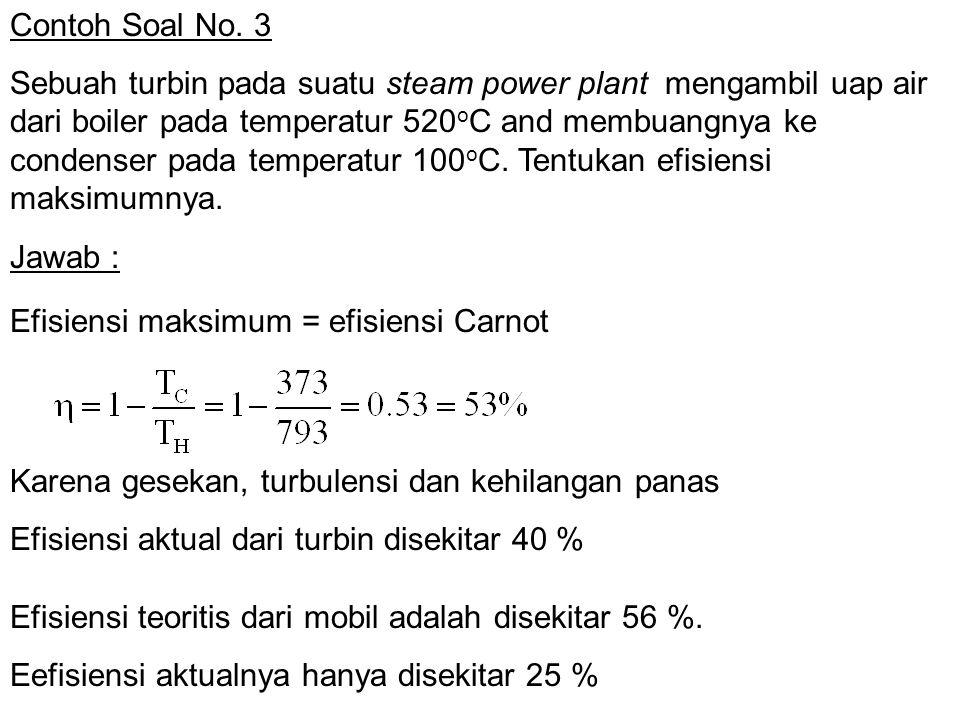 Contoh Soal No. 3 Sebuah turbin pada suatu steam power plant mengambil uap air dari boiler pada temperatur 520 o C and membuangnya ke condenser pada t