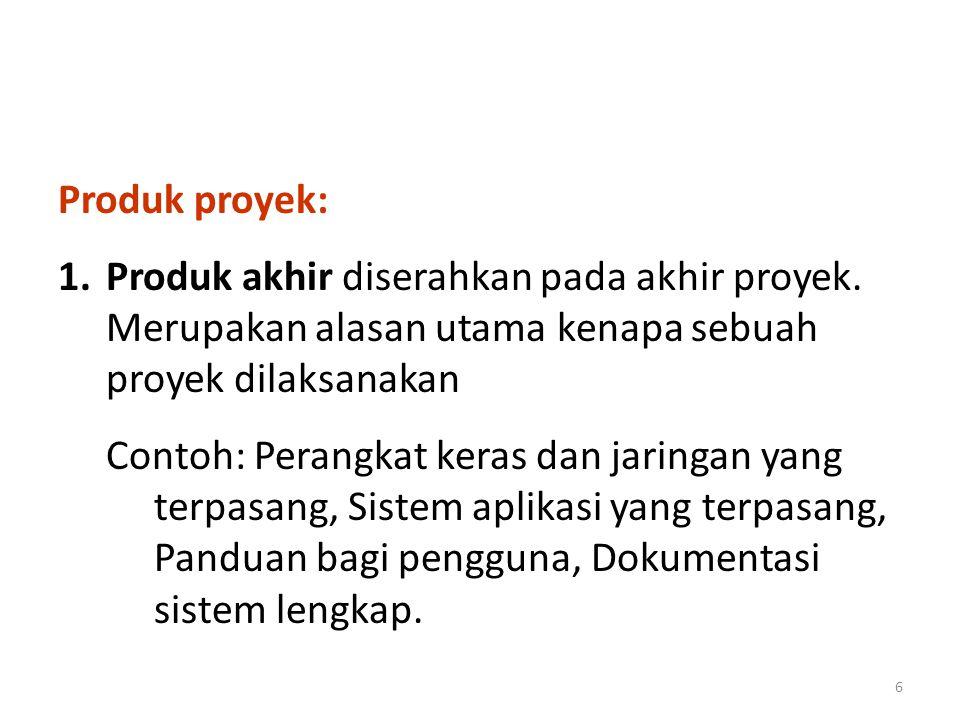 Produk proyek: 2.Produk antara diserahkan pada waktu-waktu yang telah dijadwalkan; Contoh: Hasil survei, Hasil analisis, Rancangan.