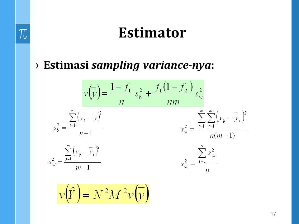 Estimator ›Estimasi sampling variance-nya: 17