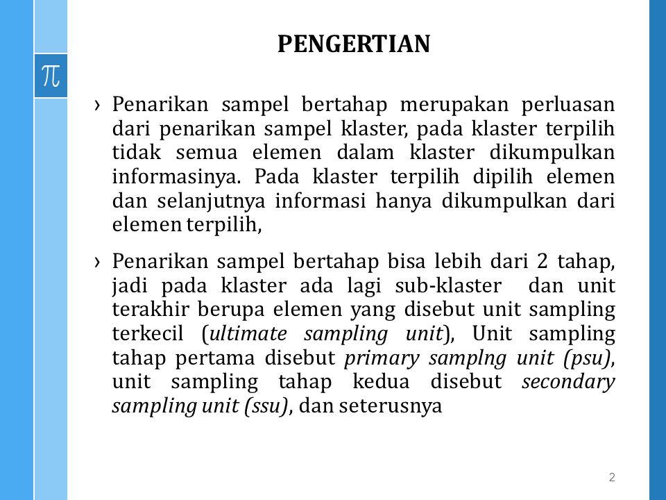 PENGERTIAN ›Penarikan sampel bertahap merupakan perluasan dari penarikan sampel klaster, pada klaster terpilih tidak semua elemen dalam klaster dikump