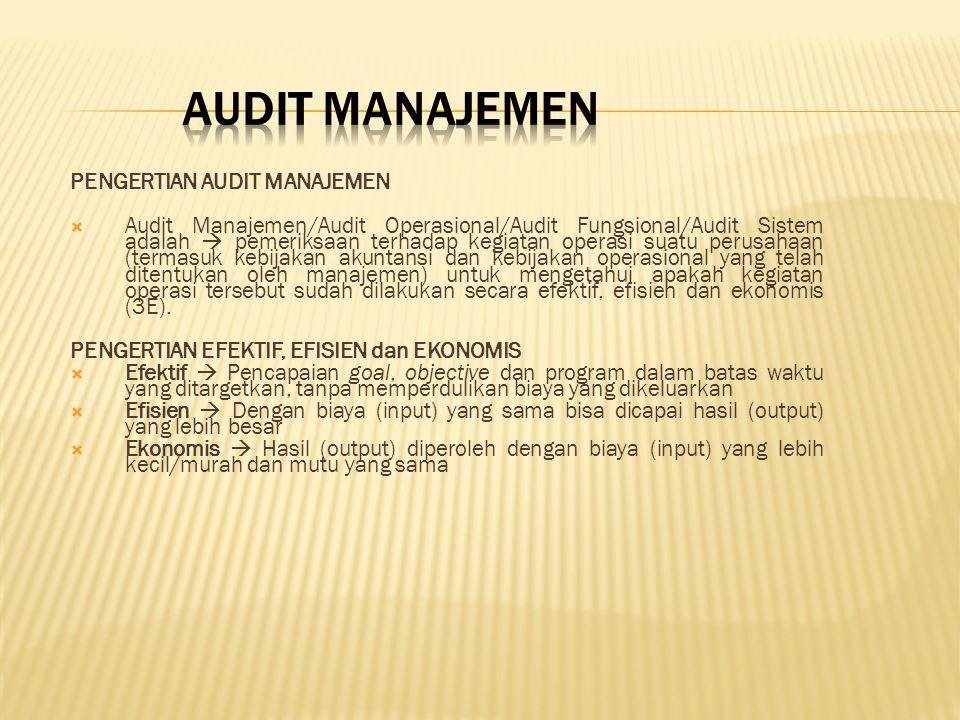 PENGERTIAN AUDIT MANAJEMEN  Audit Manajemen/Audit Operasional/Audit Fungsional/Audit Sistem adalah  pemeriksaan terhadap kegiatan operasi suatu peru