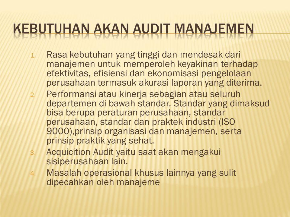 1. Rasa kebutuhan yang tinggi dan mendesak dari manajemen untuk memperoleh keyakinan terhadap efektivitas, efisiensi dan ekonomisasi pengelolaan perus