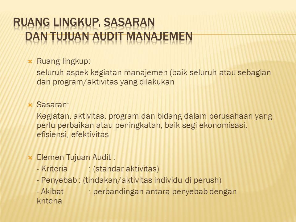  Ruang lingkup: seluruh aspek kegiatan manajemen (baik seluruh atau sebagian dari program/aktivitas yang dilakukan  Sasaran: Kegiatan, aktivitas, pr