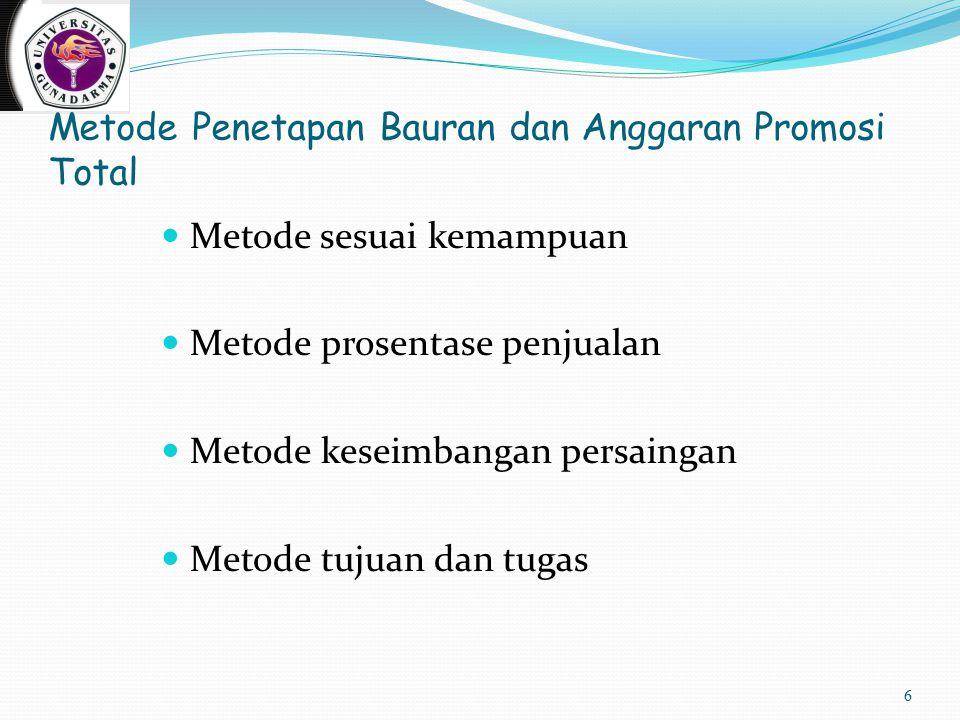 Metode Penetapan Bauran dan Anggaran Promosi Total Metode sesuai kemampuan Metode prosentase penjualan Metode keseimbangan persaingan Metode tujuan dan tugas 6