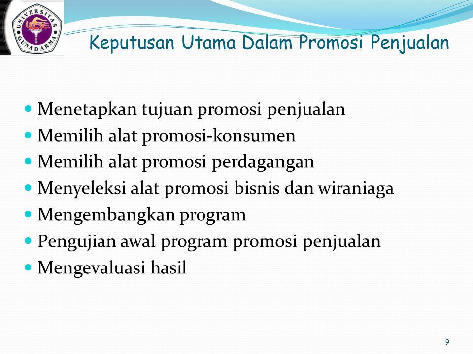 Keputusan Utama Dalam Promosi Penjualan Menetapkan tujuan promosi penjualan Memilih alat promosi-konsumen Memilih alat promosi perdagangan Menyeleksi