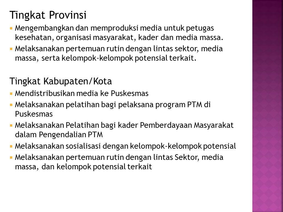 Tingkat Provinsi  Mengembangkan dan memproduksi media untuk petugas kesehatan, organisasi masyarakat, kader dan media massa.  Melaksanakan pertemuan