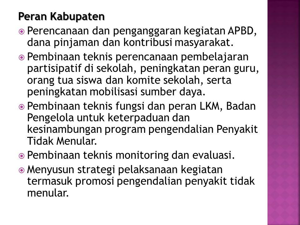 Peran Kabupaten  Perencanaan dan penganggaran kegiatan APBD, dana pinjaman dan kontribusi masyarakat.  Pembinaan teknis perencanaan pembelajaran par