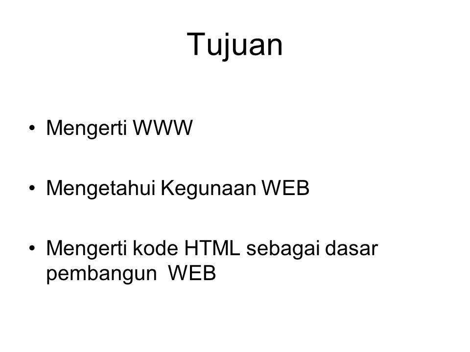 Tujuan Mengerti WWW Mengetahui Kegunaan WEB Mengerti kode HTML sebagai dasar pembangun WEB
