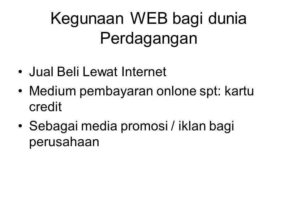 Kegunaan WEB bagi dunia Perdagangan Jual Beli Lewat Internet Medium pembayaran onlone spt: kartu credit Sebagai media promosi / iklan bagi perusahaan