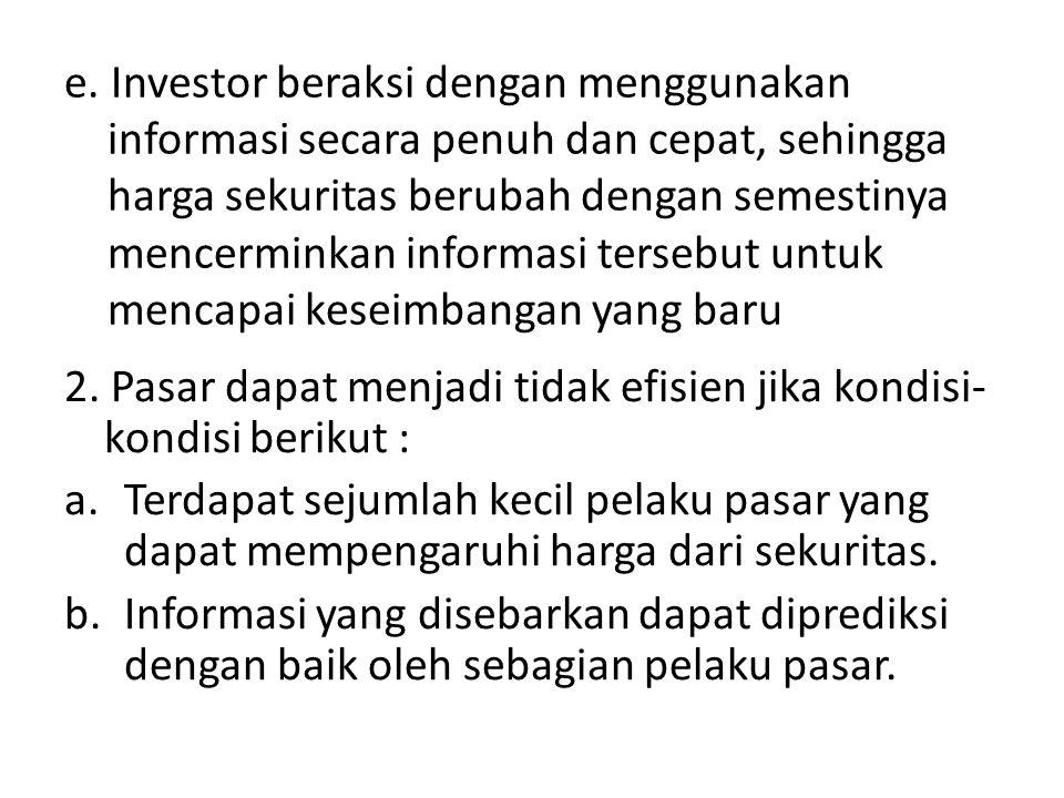 e. Investor beraksi dengan menggunakan informasi secara penuh dan cepat, sehingga harga sekuritas berubah dengan semestinya mencerminkan informasi ter