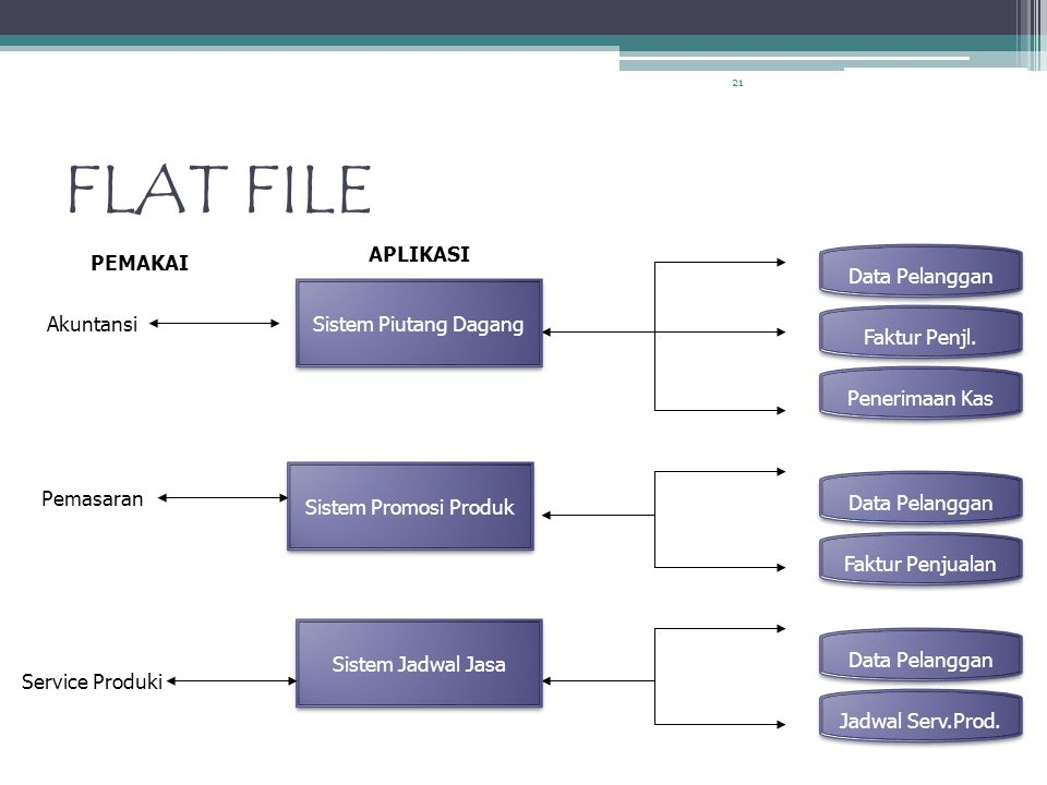 21 FLAT FILE Data Pelanggan Faktur Penjualan Data Pelanggan Jadwal Serv.Prod.