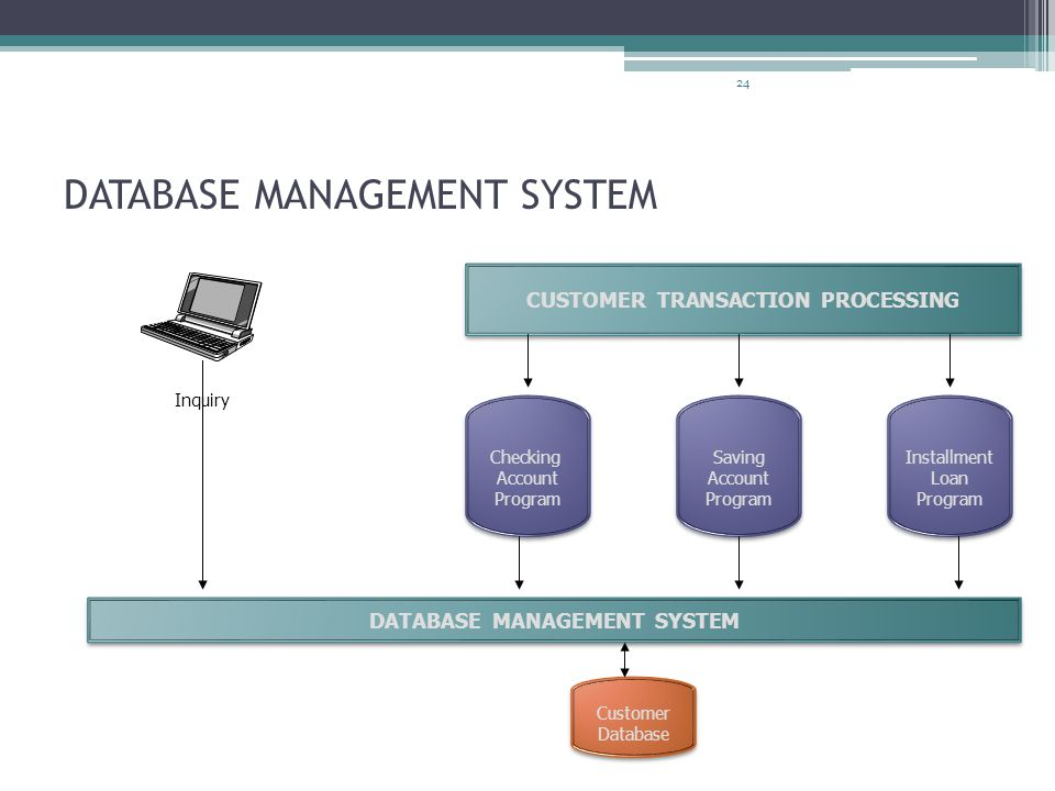 24 DATABASE MANAGEMENT SYSTEM CUSTOMER TRANSACTION PROCESSING Checking Account Program Checking Account Program Saving Account Program Saving Account Program Installment Loan Program Installment Loan Program DATABASE MANAGEMENT SYSTEM Customer Database Customer Database Inquiry