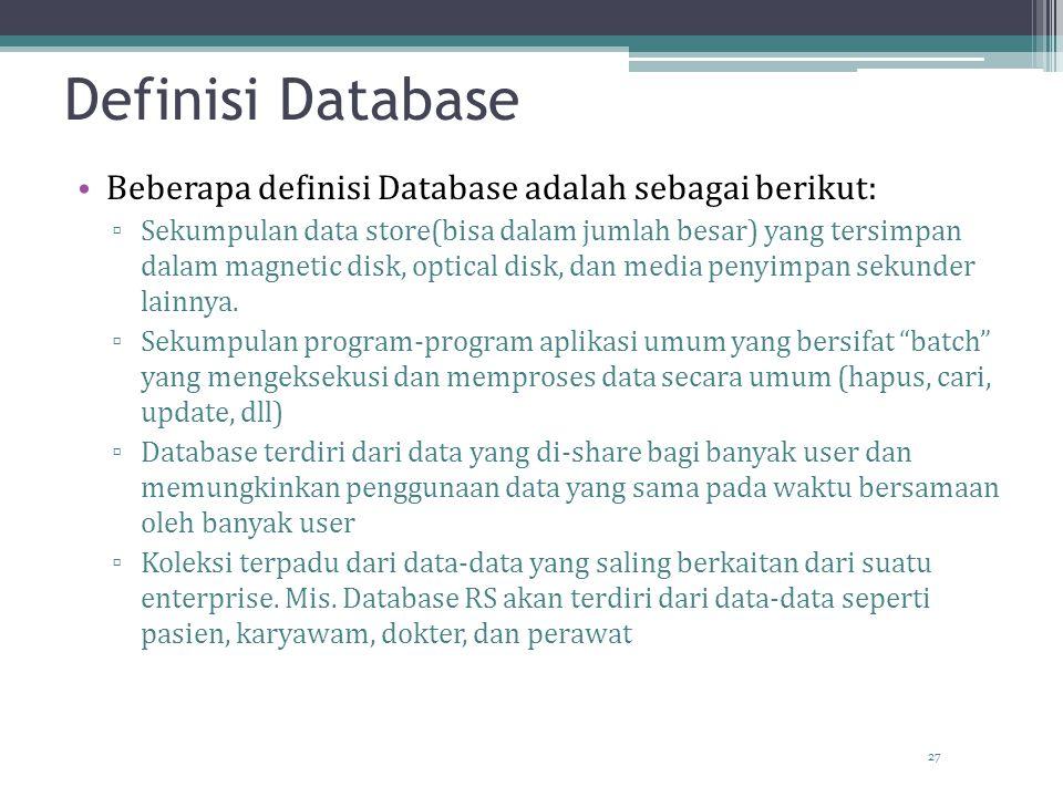 27 Definisi Database Beberapa definisi Database adalah sebagai berikut: ▫ Sekumpulan data store(bisa dalam jumlah besar) yang tersimpan dalam magnetic disk, optical disk, dan media penyimpan sekunder lainnya.