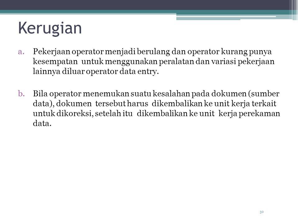 Kerugian a.Pekerjaan operator menjadi berulang dan operator kurang punya kesempatan untuk menggunakan peralatan dan variasi pekerjaan lainnya diluar operator data entry.