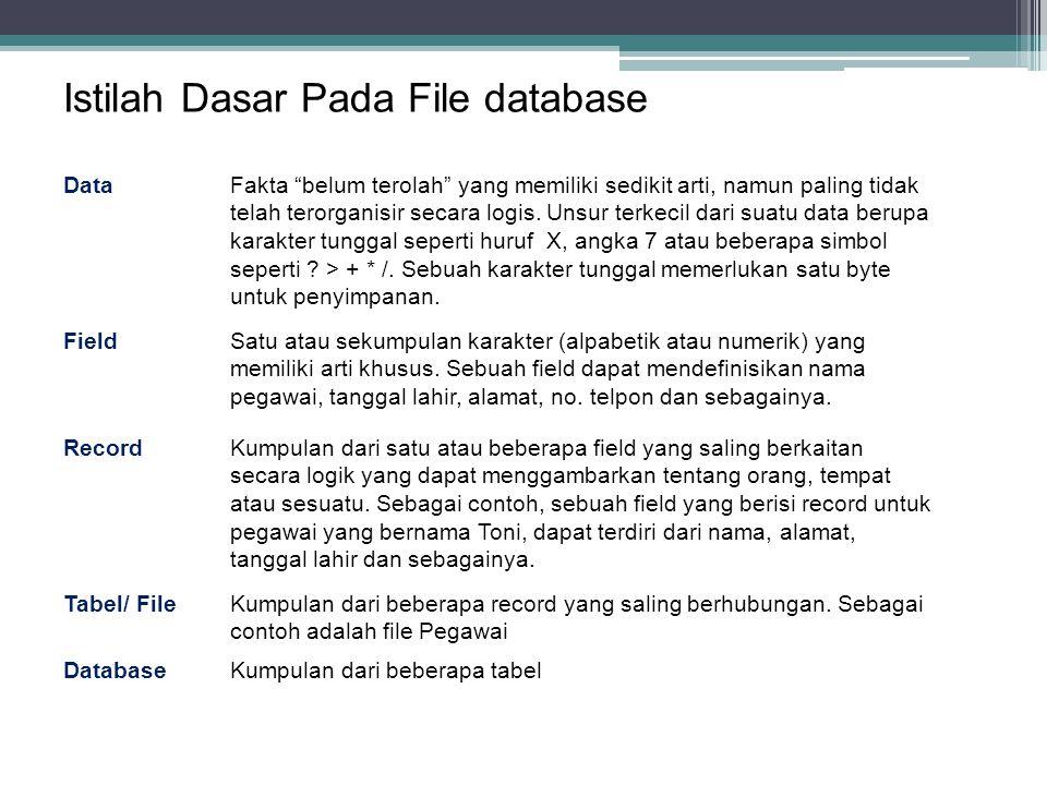 34 Istilah Dasar Pada File database DataFakta belum terolah yang memiliki sedikit arti, namun paling tidak telah terorganisir secara logis.