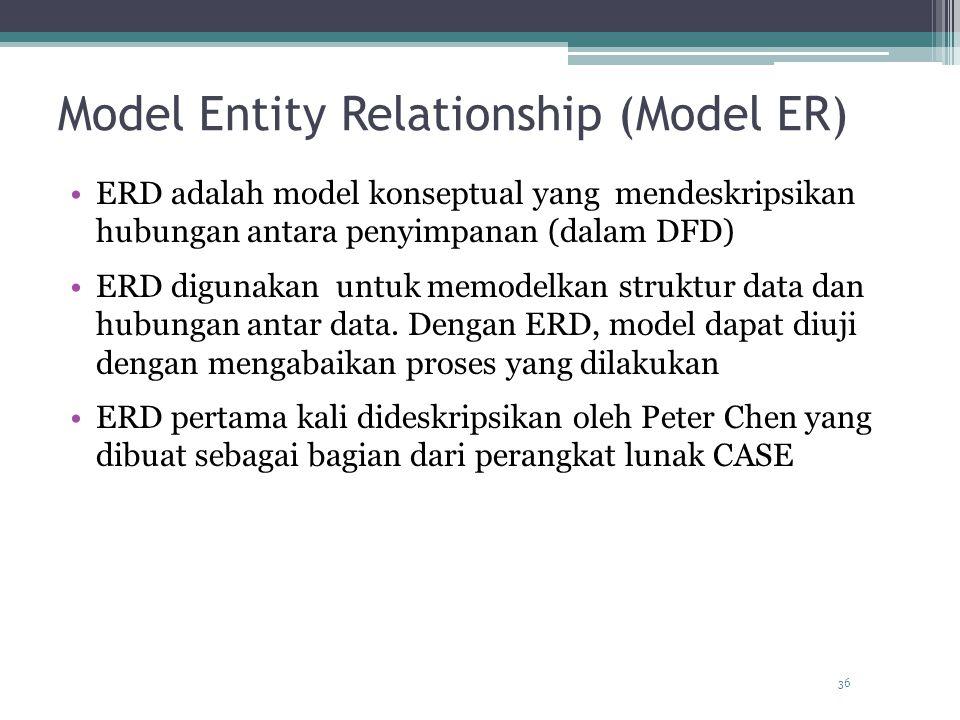 36 Model Entity Relationship (Model ER) ERD adalah model konseptual yang mendeskripsikan hubungan antara penyimpanan (dalam DFD) ERD digunakan untuk memodelkan struktur data dan hubungan antar data.