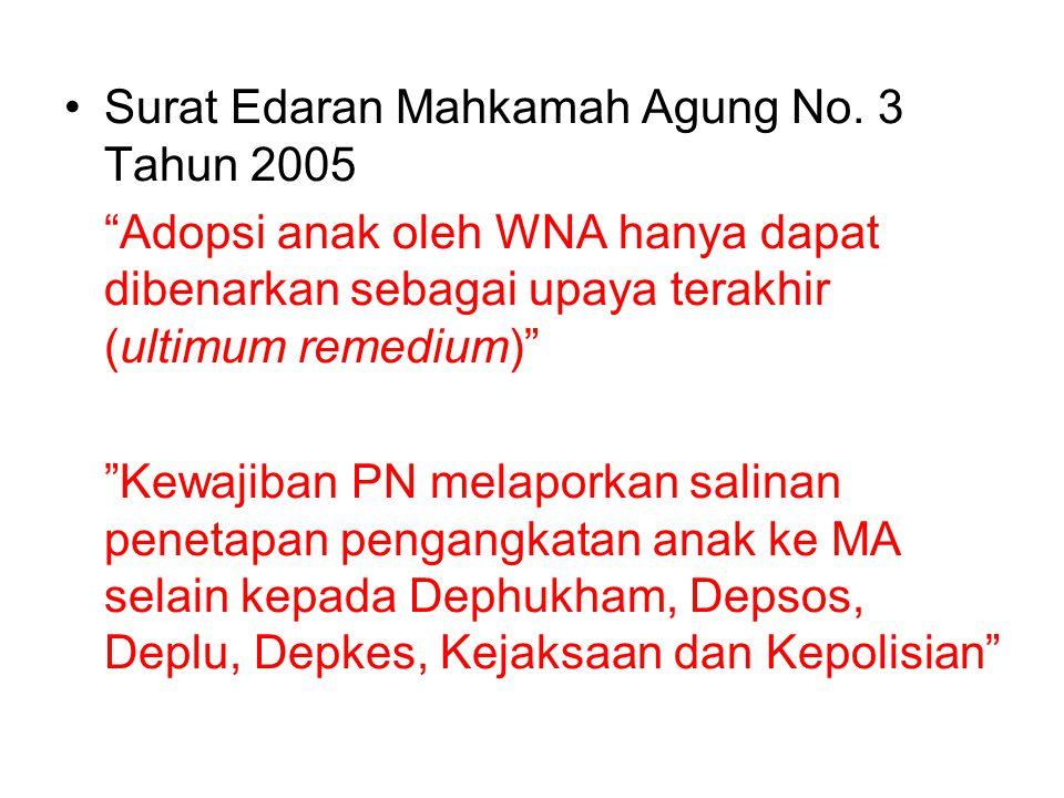 """Surat Edaran Mahkamah Agung No. 3 Tahun 2005 """"Adopsi anak oleh WNA hanya dapat dibenarkan sebagai upaya terakhir (ultimum remedium)"""" """"Kewajiban PN mel"""