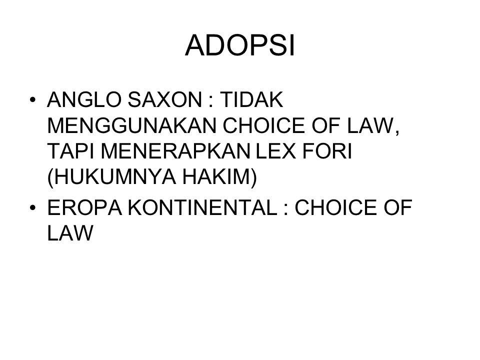 ADOPSI ANGLO SAXON : TIDAK MENGGUNAKAN CHOICE OF LAW, TAPI MENERAPKAN LEX FORI (HUKUMNYA HAKIM) EROPA KONTINENTAL : CHOICE OF LAW
