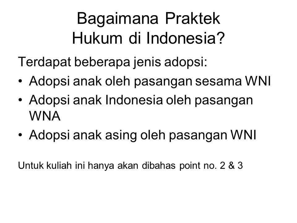 Bagaimana Praktek Hukum di Indonesia? Terdapat beberapa jenis adopsi: Adopsi anak oleh pasangan sesama WNI Adopsi anak Indonesia oleh pasangan WNA Ado
