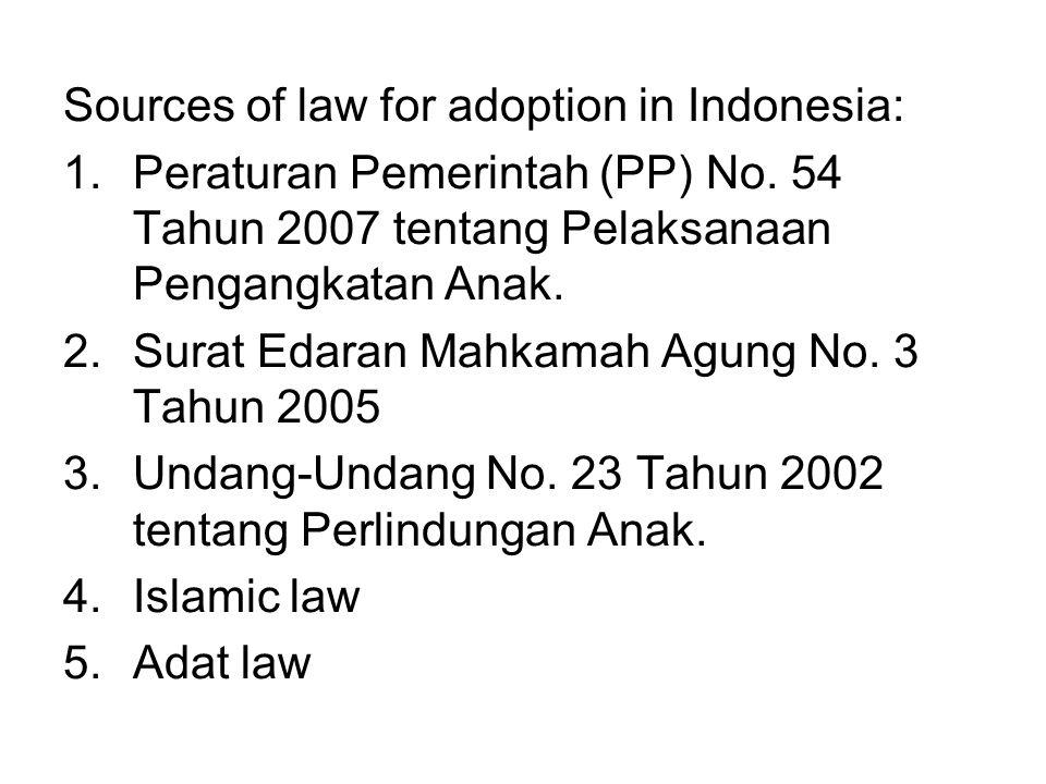 Sources of law for adoption in Indonesia: 1.Peraturan Pemerintah (PP) No. 54 Tahun 2007 tentang Pelaksanaan Pengangkatan Anak. 2.Surat Edaran Mahkamah