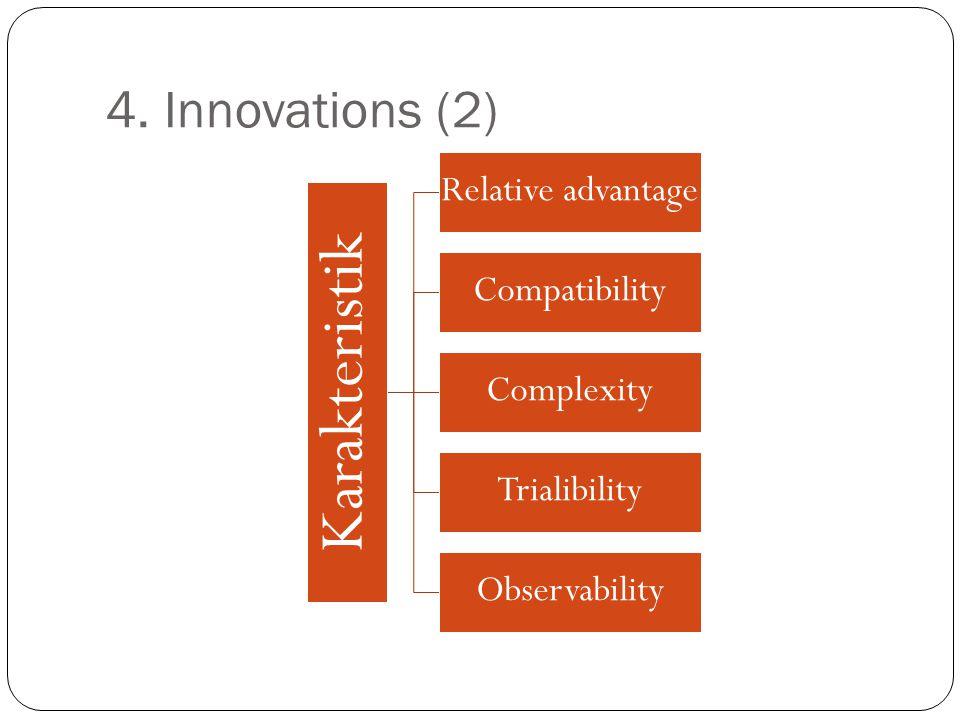 4. Innovations (2) Karakteristik Relative advantage Compatibility Complexity Trialibility Observability
