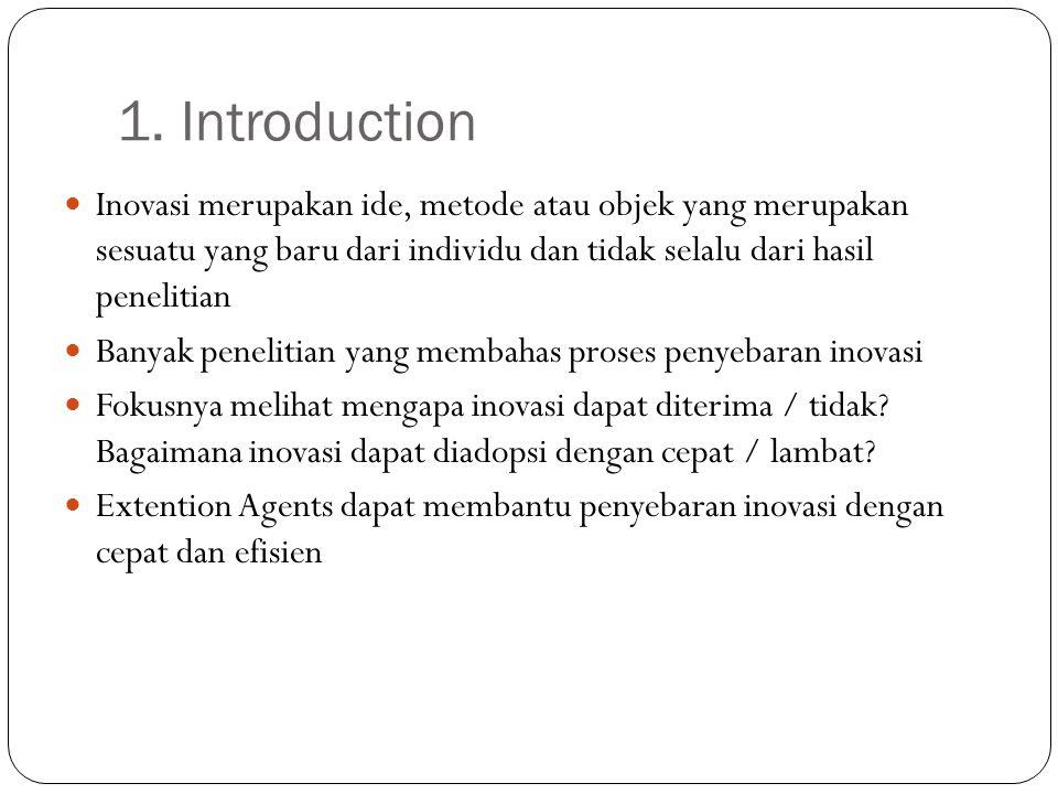 1. Introduction Inovasi merupakan ide, metode atau objek yang merupakan sesuatu yang baru dari individu dan tidak selalu dari hasil penelitian Banyak