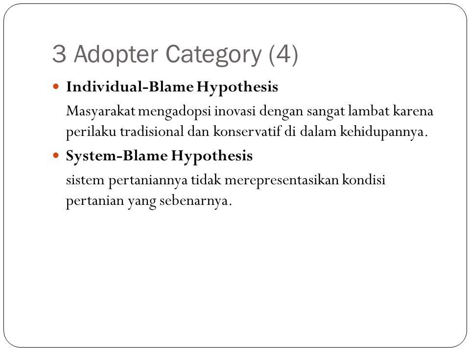 3 Adopter Category (4) Individual-Blame Hypothesis Masyarakat mengadopsi inovasi dengan sangat lambat karena perilaku tradisional dan konservatif di d