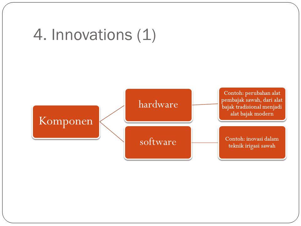 4. Innovations (1) Komponen hardware Contoh: perubahan alat pembajak sawah, dari alat bajak tradisional menjadi alat bajak modern software Contoh: ino